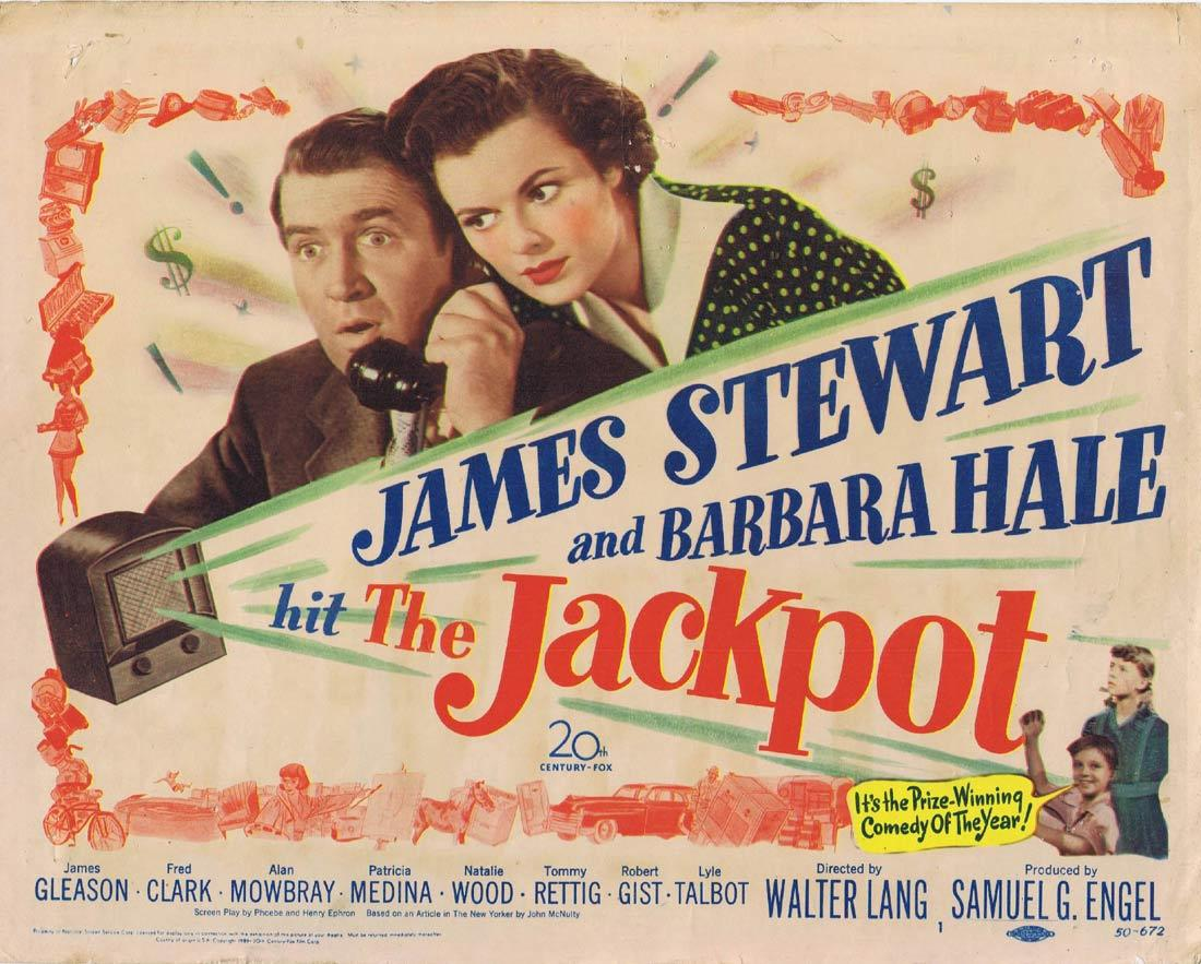 JACKPOT Vintage Title Lobby Card James Stewart Barbara Hale James Gleason