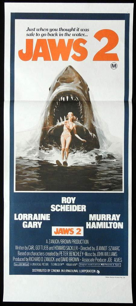 JAWS 2 Original Daybill Movie Poster Just when you thought it was safe Burton