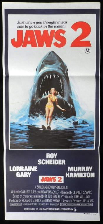 JAWS 2 Original Daybill Movie poster Roy Scheider Richard Dreyfuss M.A.P.S style