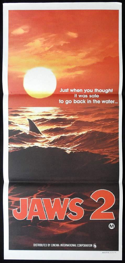 JAWS 2 Original Advance Daybill Movie poster Sunset