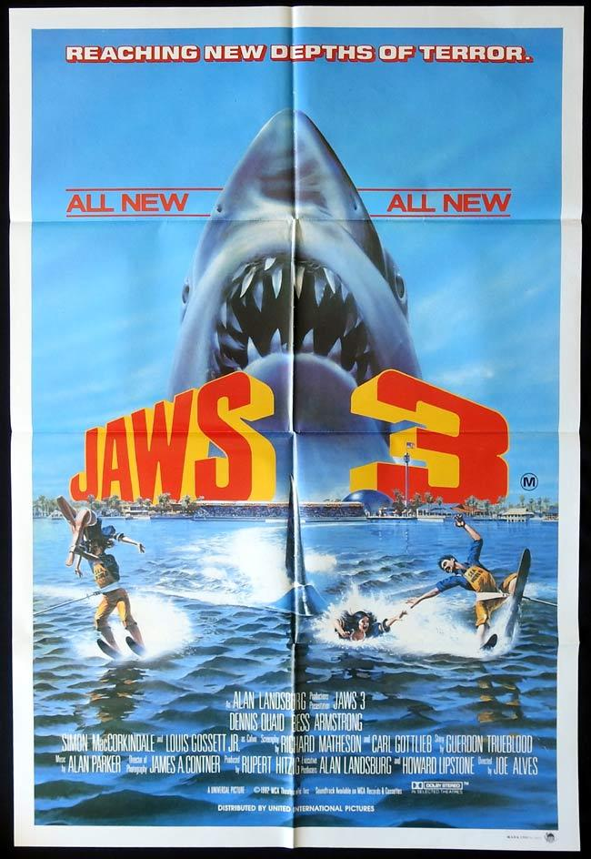 JAWS 3 Original One sheet Movie Poster Dennis Quaid Killer Shark Bess Armstrong