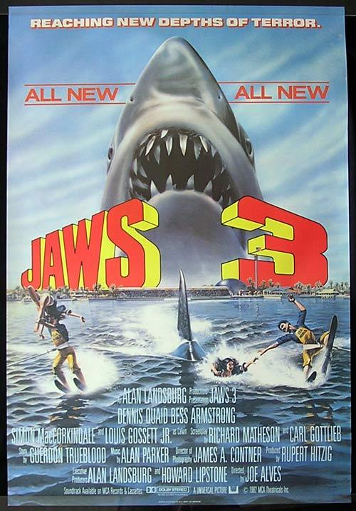 JAWS 3 Original British one sheet Movie Poster Dennis Quaid SHARK