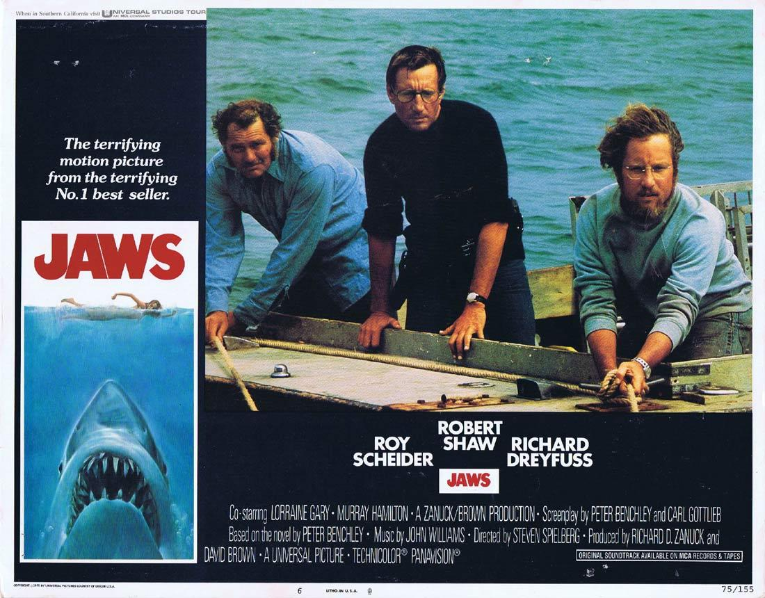 JAWS Original Lobby Card 6 Roy Scheider Richard Dreyfuss Shark Attack
