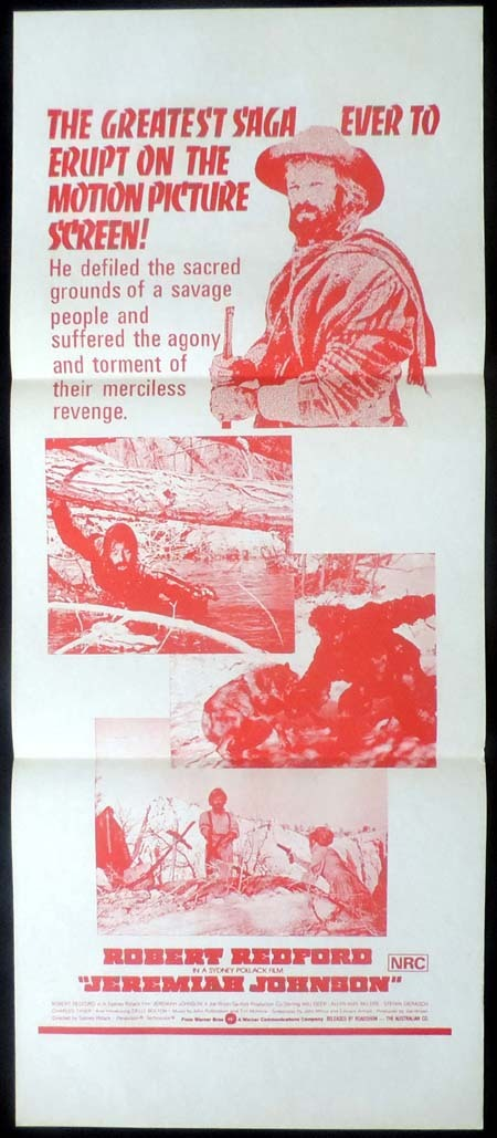 JEREMIAH JOHNSON Original Daybill Movie poster Robert Redford