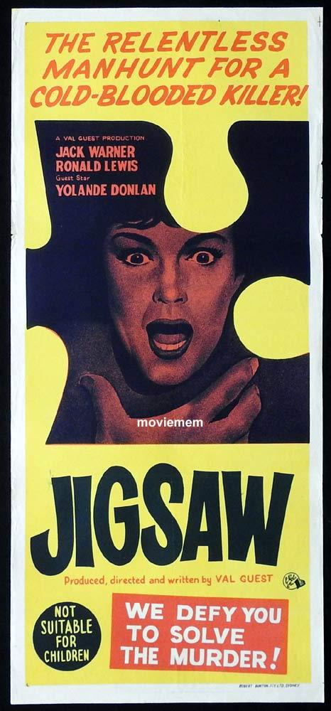 JIGSAW Original Daybill Movie Poster Jack Warner Ronald Lewis