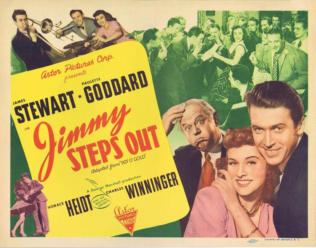 JIMMY STEPS OUT Vintage Title Lobby Card Pot o' Gold James Stewart Paulette Goddard 1946r