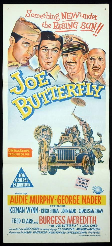 JOE BUTTERFLY Original Daybill Movie poster Audie Murphy Burgess Meredith
