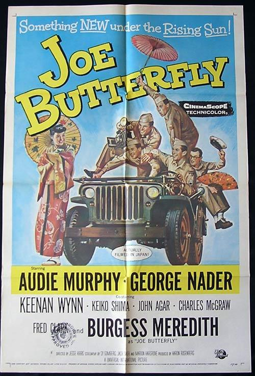 JOE BUTTERFLY Original One sheet Movie poster Audie Murphy Burgess Meredith