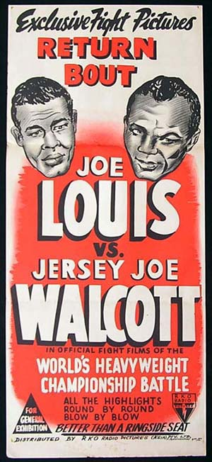 JOE LOUIS V. JERSEY JOE WALCOTT '48 Boxing RKO poster The Return Bout