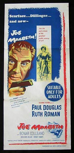 JOE MACBETH 1955 Paul Douglas Ruth Roman NOIR Daybill Movie Poster