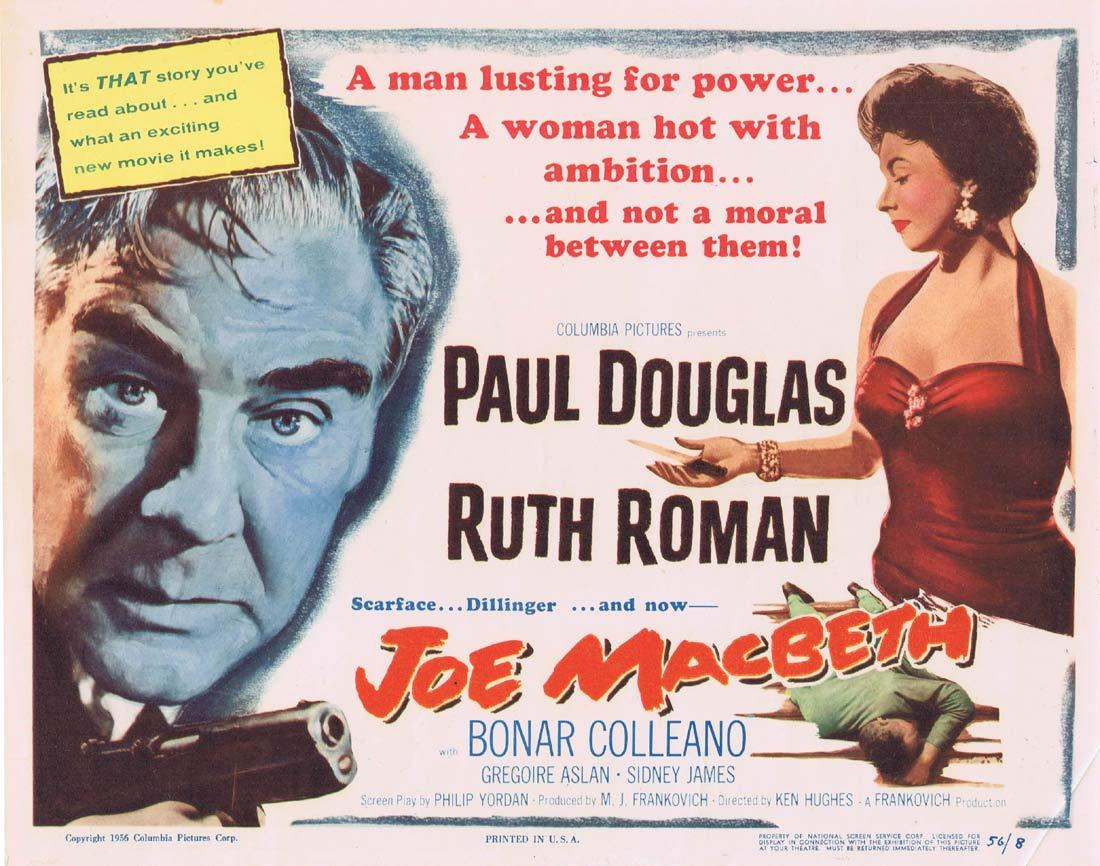 JOE MACBETH Original Title Lobby Card Paul Douglas Ruth Roman Bonar Colleano