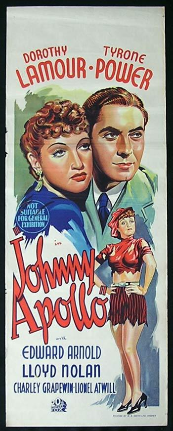 JOHNNY APOLLO 1940 Tyrone Power Dorothy Lamour RARE poster