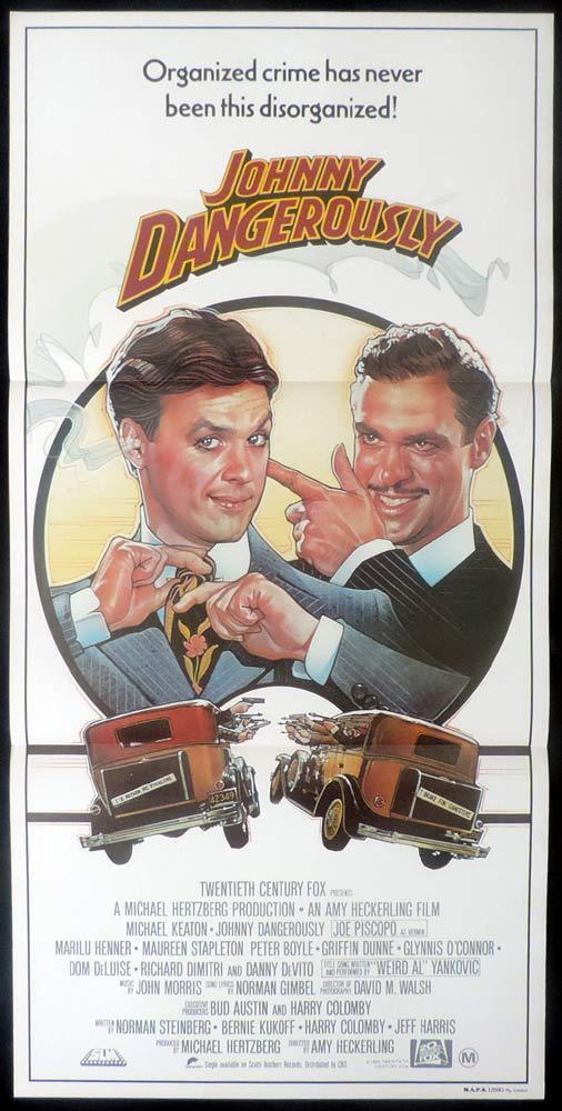 JOHNNY DANGEROUSLY Original Daybill Movie Poster MICHAEL KEATON Joe Piscopo