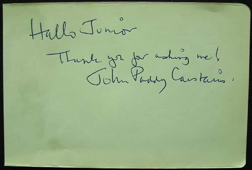 JOHN PADDY CARSTAIRS Authentic VINTAGE Autograph