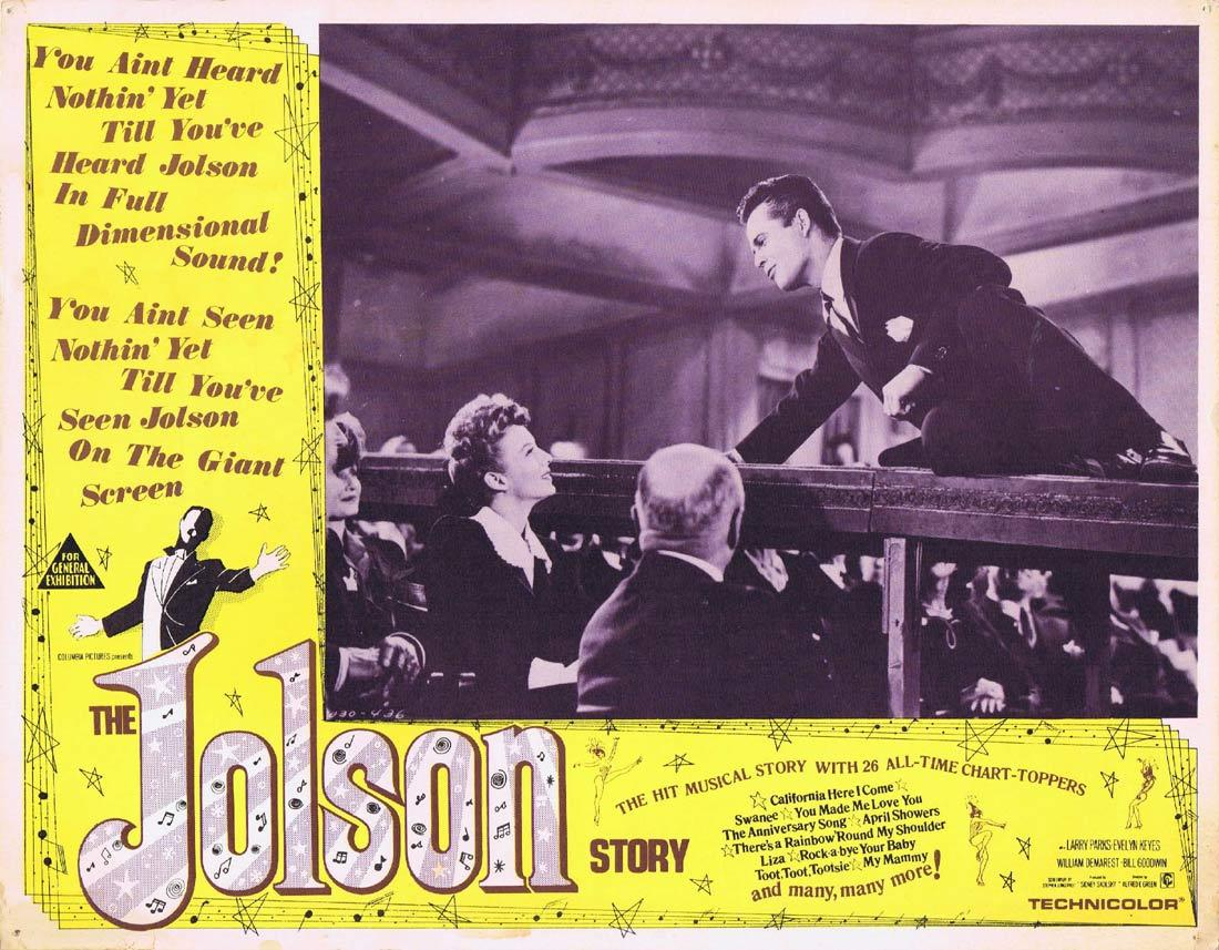 THE JOLSON STORY Original Lobby Card 2 LARRY PARKS as AL JOLSON Evelyn Keyes