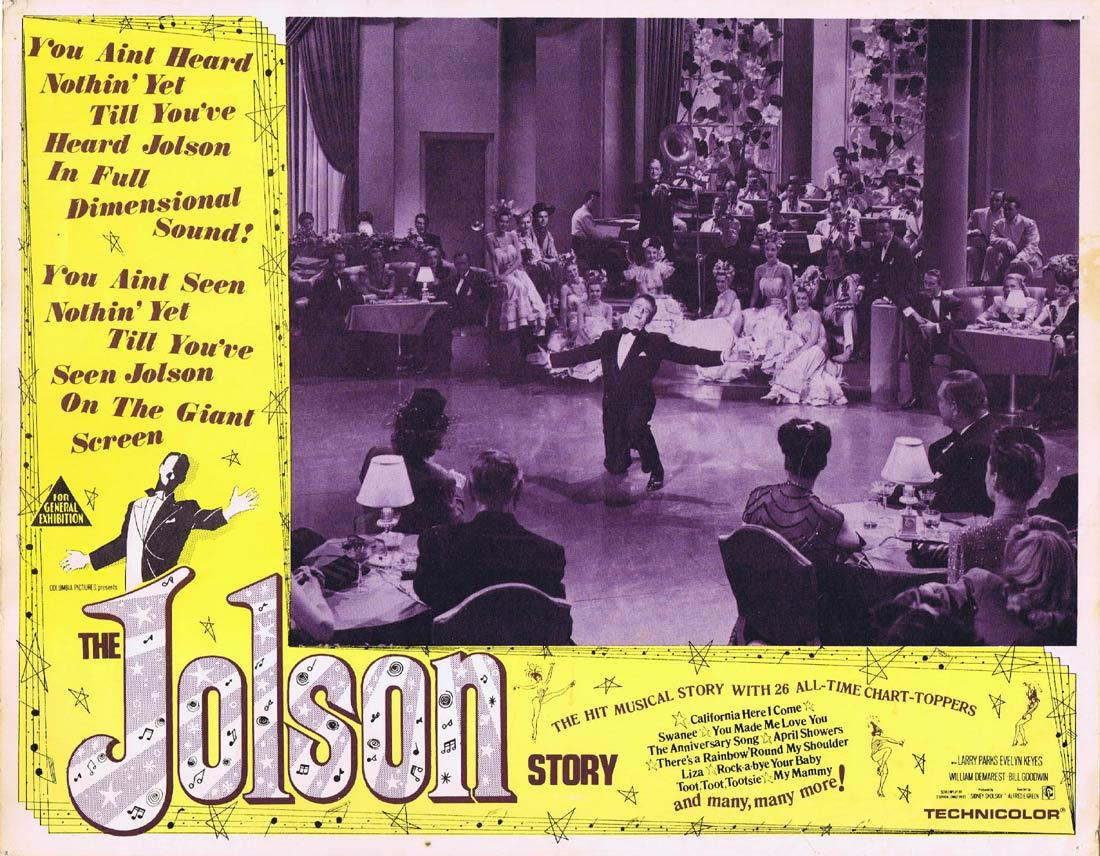 THE JOLSON STORY Original Lobby Card 3 LARRY PARKS as AL JOLSON Evelyn Keyes