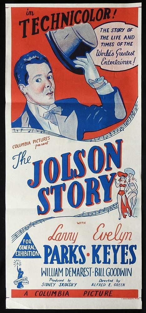THE JOLSON STORY Original Daybill Movie poster Larry Parks as Al Joldon