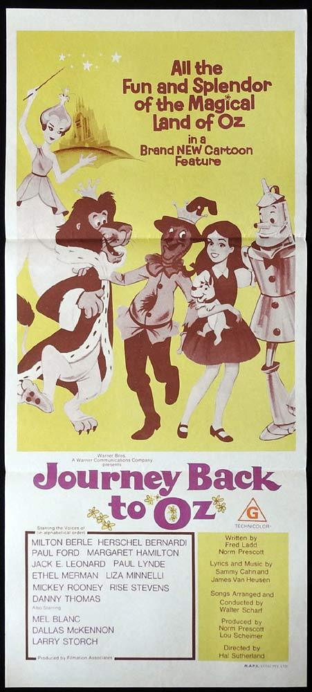 JOURNEY BACK TO OZ Original Daybill Movie poster Wizard of Oz