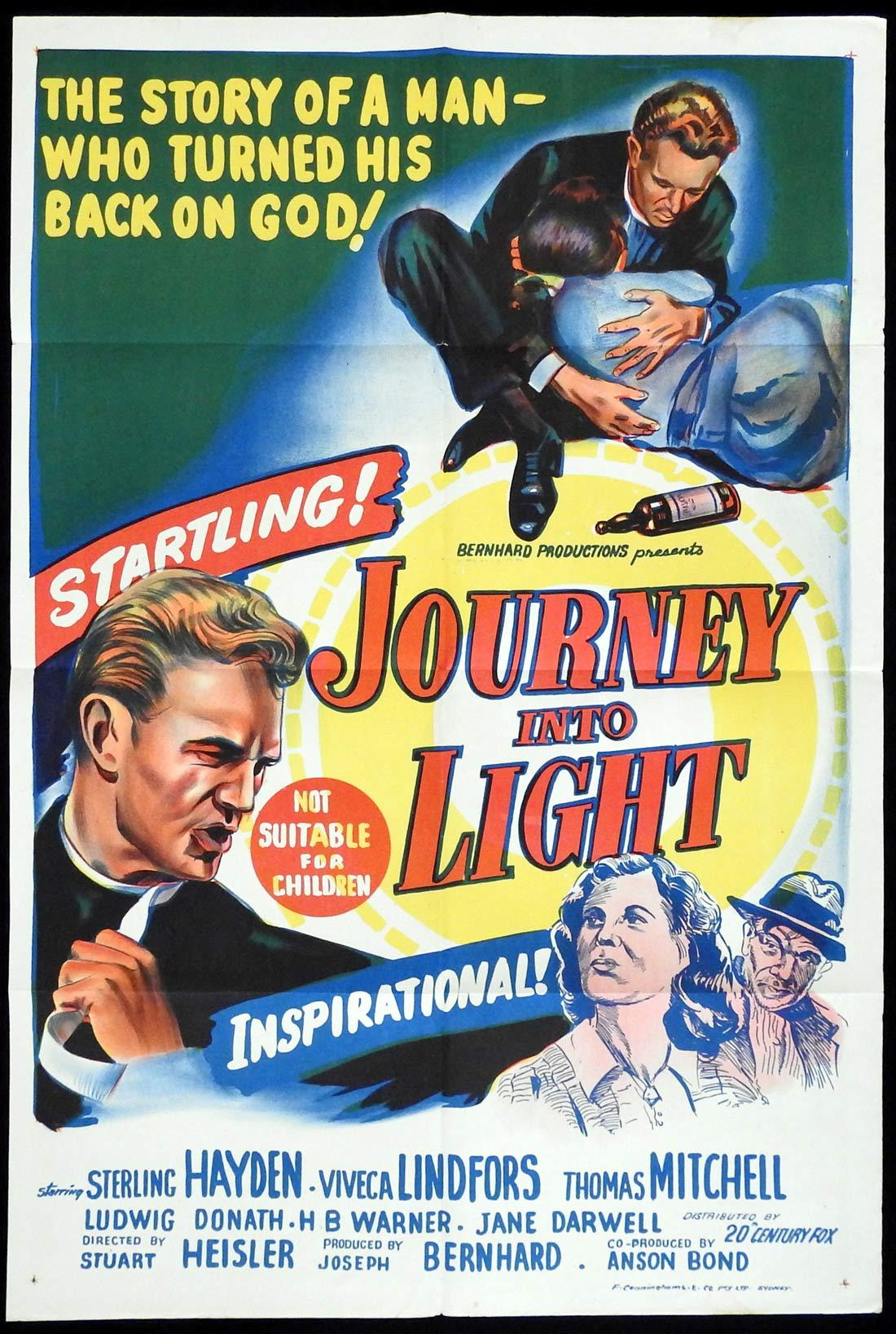 JOURNEY INTO LIGHT Original One sheet Movie poster Sterling Hayden