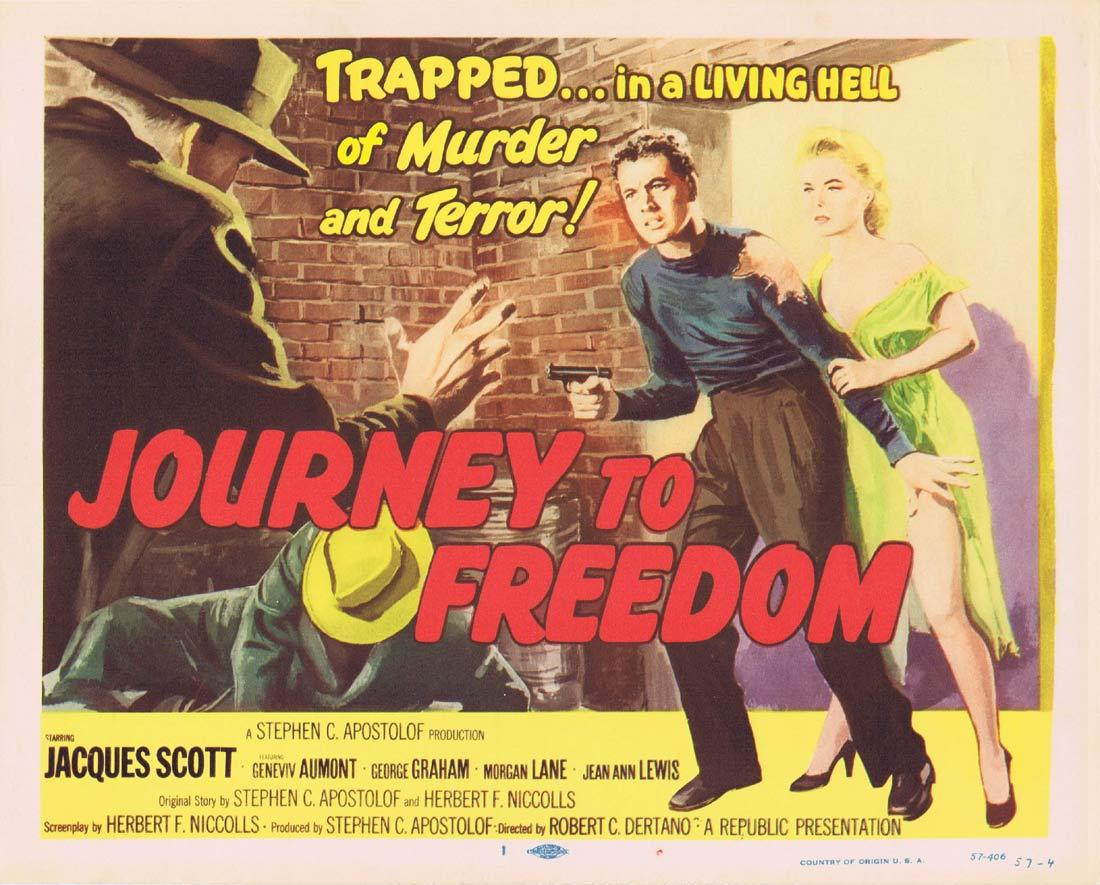 JOURNEY TO FREEDOM Original Lobby Card Jacques Scott Film Noir