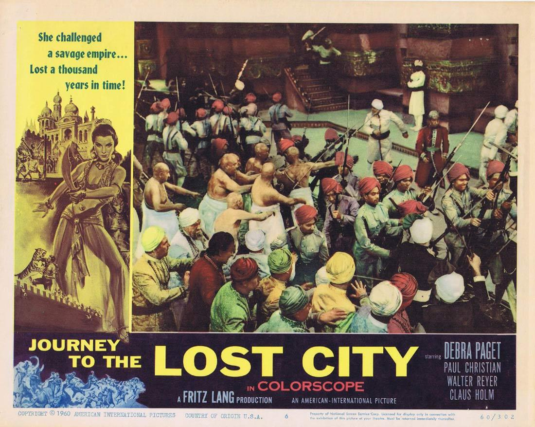 JOURNEY TO THE LOST CITY Lobby card 6 Fritz Lang Debra Paget