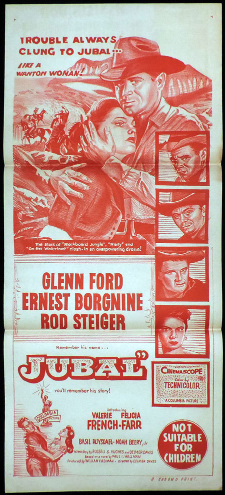JUBAL Australian Daybill Movie poster Glenn Ford Rod Steiger
