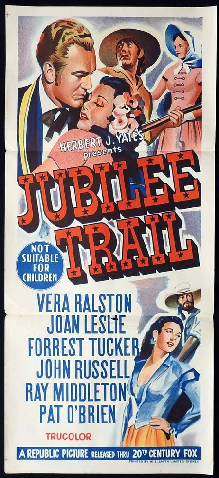 JUBILEE TRAIL Original Daybill Movie Poster Vera Ralston Joan Leslie Forrest Tucker