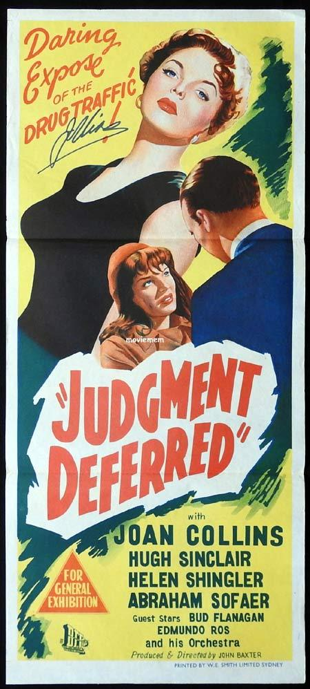 JUDGMENT DEFERRED Original Daybill Movie poster AUTOGRAPHED BY JOAN COLLINS Rare