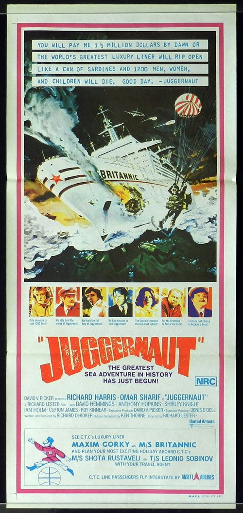 JUGGERNAUT 1974 Australian Daybill Movie poster Luxury Liner Richard Harris