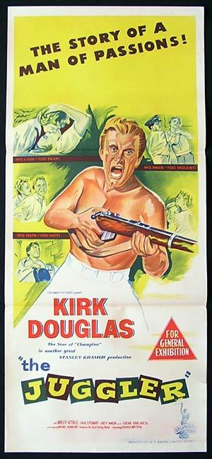 THE JUGGLER Kirk Douglas daybill Movie poster