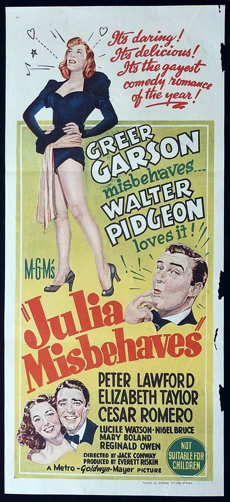 JULIA MISBEHAVES Original Daybill Movie poster Greer Garson Walter Pidgeon