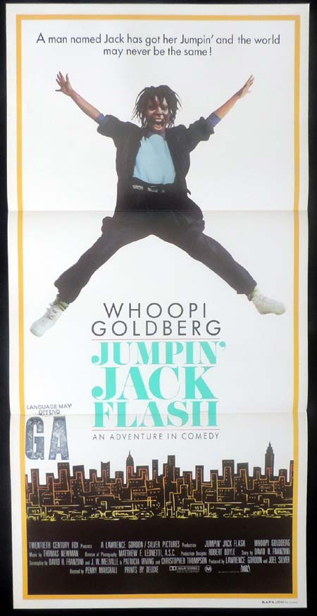 JUMPIN JACK FLASH Whoopi Goldberg Daybill Movie poster