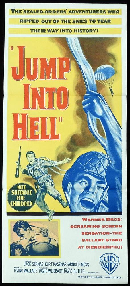 JUMP INTO HELL Original daybill Movie poster Jacques Sernas Parachute