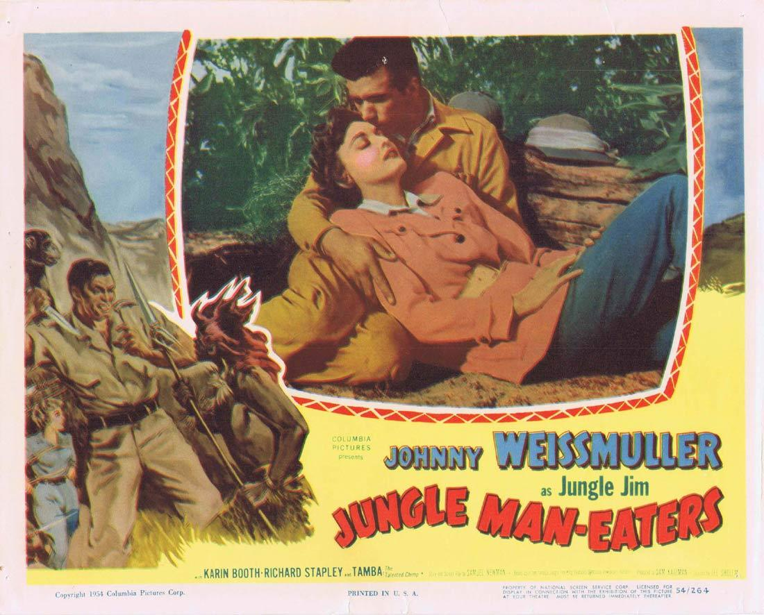 JUNGLE MAN EATERS Lobby Card 2 Johnny Weissmuller as Jungle Jim