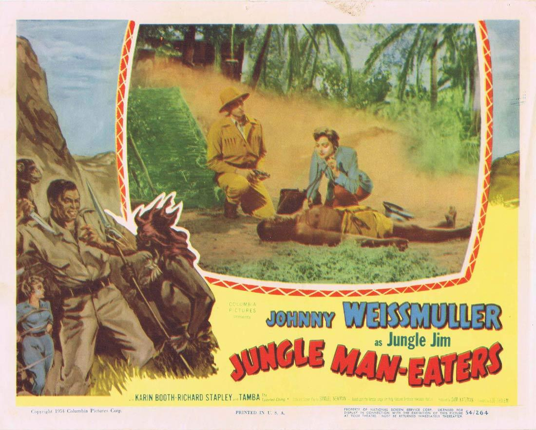 JUNGLE MAN EATERS Lobby Card 5 Johnny Weissmuller as Jungle Jim