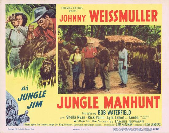 JUNGLE MANHUNT 1951 Lobby Card 4 Johnny Weissmuller Jungle Jim