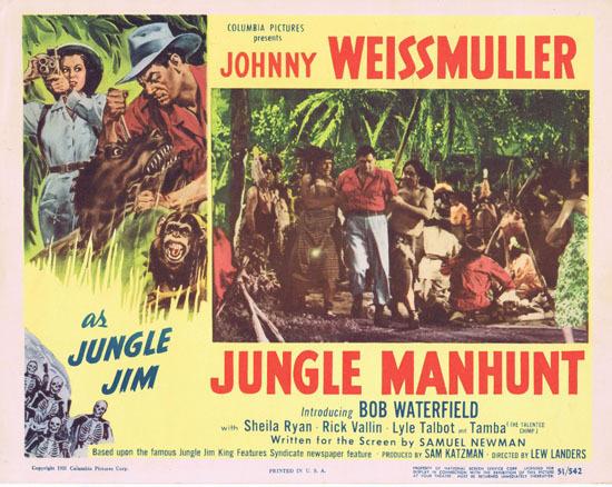 JUNGLE MANHUNT 1951 Lobby Card 5 Johnny Weissmuller Jungle Jim
