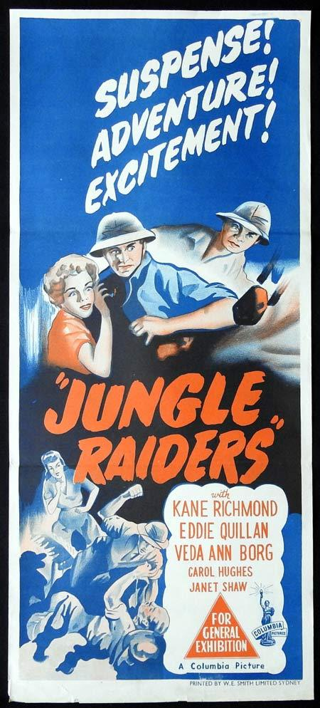 JUNGLE RAIDERS Original Daybill Movie Poster Columbia Serial Kane Richmond