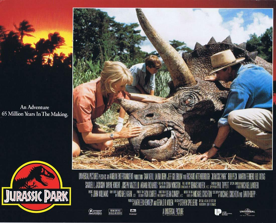 JURASSIC PARK Vintage Movie Lobby Card 2 Richard Attenborough Dinosaurs