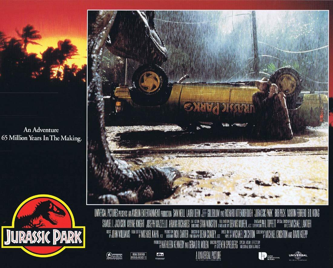 JURASSIC PARK Vintage Movie Lobby Card 3 Richard Attenborough Dinosaurs