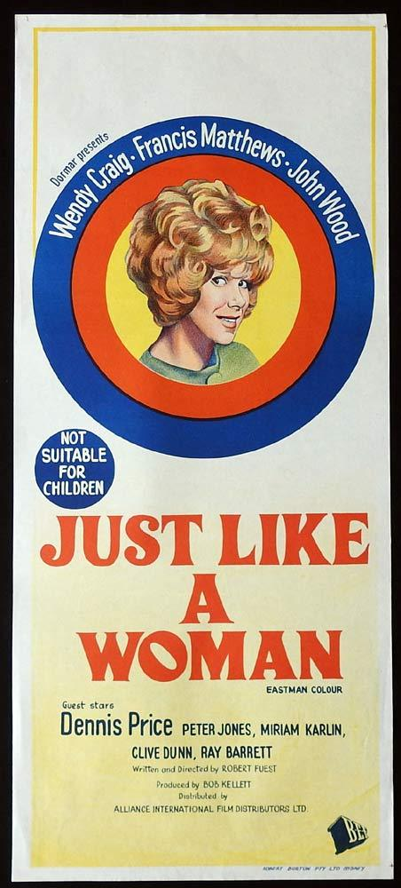 JUST LIKE A WOMAN Original Daybill Movie Poster Wendy Craig Francis Matthews
