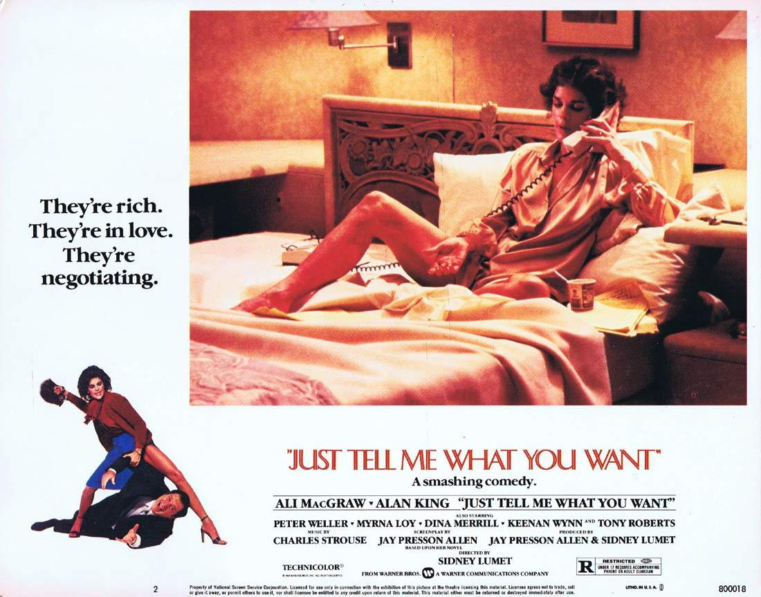 JUST TELL ME WHAT YOU WANT Original Lobby Card 2 Ali MacGraw Alan King