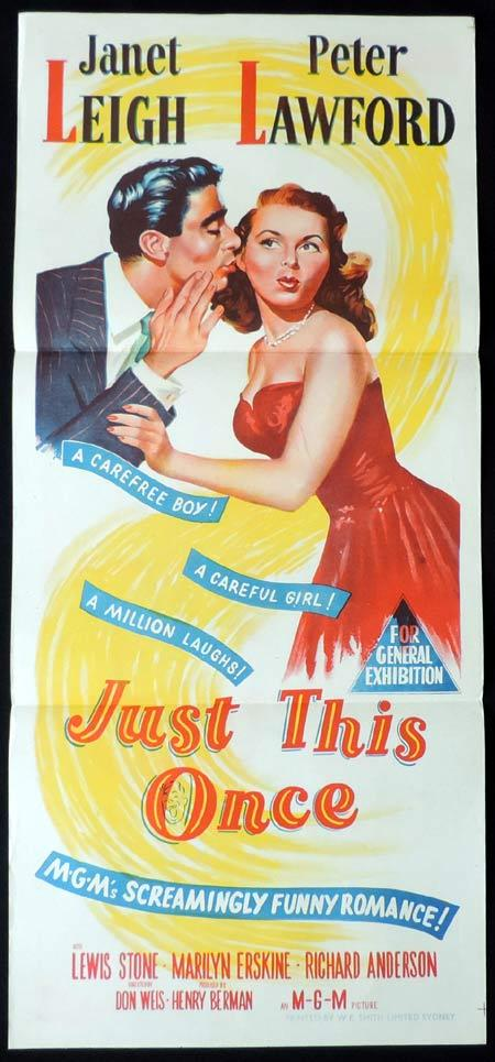 JUST THIS ONCE Original Daybill Movie Poster Peter Lawford Janet Leigh