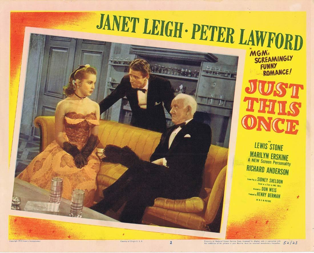 JUST THIS ONCE Lobby Card 2 Janet Leigh Peter Lawford Lewis Stone