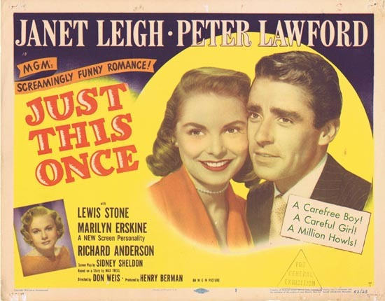 JUST THIS ONCE Title Lobby card Janet Leigh Peter Lawford