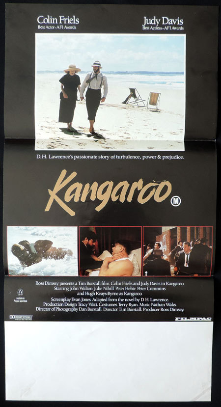 KANGAROO Australian Daybill Movie poster Colin Friels Judy Davis