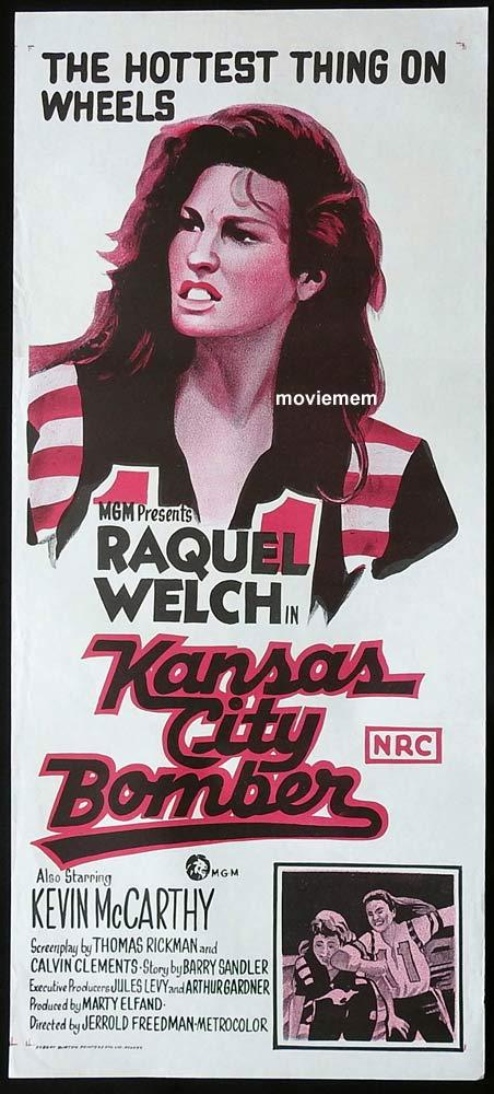 KANSAS CITY BOMBER Original Daybill Movie Poster Raquel Welch Roller Derby