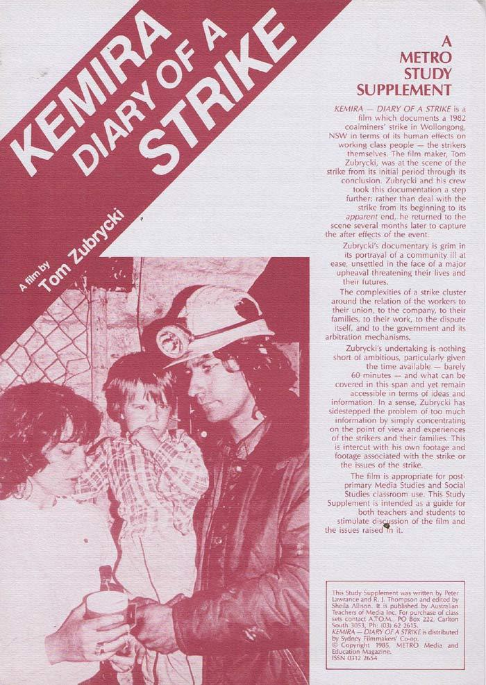 KEMIRA DIARY OF A STRIKE Original Movie Study Guide Australian Documentary Tom Zubrycki