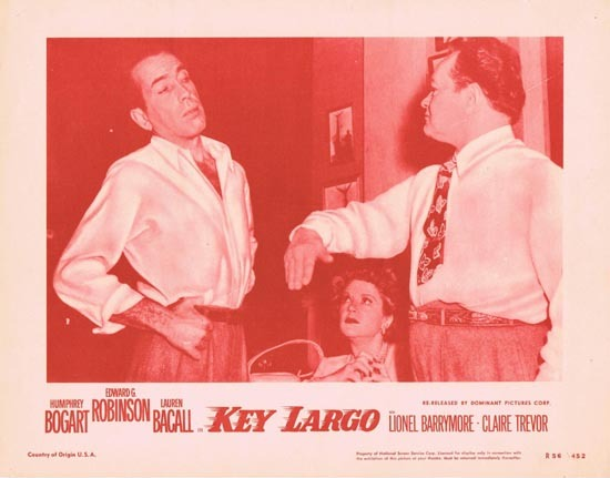 KEY LARGO 1956r Humphrey Bogart Lobby Card 1