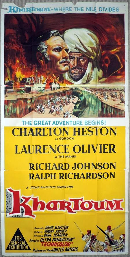 KHARTOUM Original 3 Sheet Movie Poster Charlton Heston Laurence Olivier
